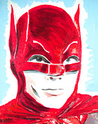 Heroes Paintings - Caped Crusader Red by Ronn Greer