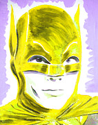 Super Stars Painting Framed Prints - Caped Crusader Yellow Framed Print by Ronn Greer