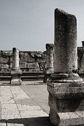 Synagogue Photos - Capernaum Columns by Tom Griffithe