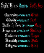 Sloth Posters - Capital Virtues Overcome Deadly Sins Poster by Barbara Griffin