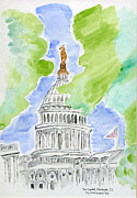 Washington Dc Drawings Framed Prints - Capitol Hill II Framed Print by Eva Ason