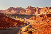Country Road Posters - Capitol Reef National Park Landscape Poster by Carolyn Rauh