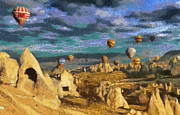Flying Turkey Paintings - Cappadocia ballons fiesta by Georgi Dimitrov