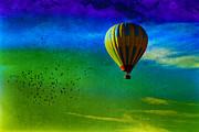 Cappadocia Baloon And Pigeons Print by Yavuz Sariyildiz