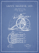 Capps Machine Gun Patent Drawing From 1902 - Light Blue Print by Aged Pixel