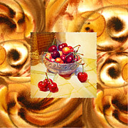 Cool Abstract Art - Cappuccino Abstract Collage Cherries by Irina Sztukowski