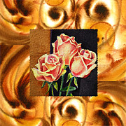 Watercolor By Irina Posters - Cappuccino Abstract Collage French Roses Poster by Irina Sztukowski