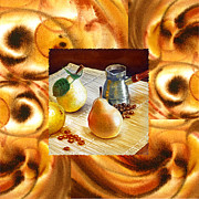 Cool Abstract Art - Cappuccino Abstract Collage Pears by Irina Sztukowski