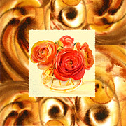 Art Studio Paintings - Cappuccino Abstract Collage Ranunculus   by Irina Sztukowski