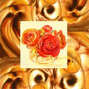 Cappuccino Abstract Collage Ranunculus   Print by Irina Sztukowski