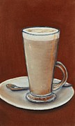Italian Restaurant Mixed Media Prints - Cappuccino Print by Anastasiya Malakhova