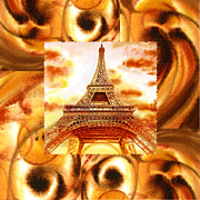 Cool Abstract Art - Cappuccino In Paris Abstract Collage Eiffel Tower by Irina Sztukowski