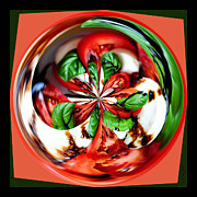 Salad Digital Art Prints - Caprese Salad Orb Print by Paula Ayers