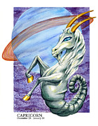 Signs Of The Zodiac Painting Metal Prints - Capricorn Metal Print by Michael Baum