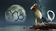 Loyal Digital Art Acrylic Prints - Capricorn Zodiac Symbol Acrylic Print by Daniel Eskridge