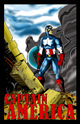 Leader Drawings Posters - Captain America Poster by Alexiss Jaimes