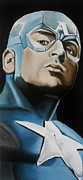 Comics Paintings - Captain America by Brian Broadway