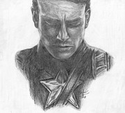 Avengers Drawings - Captain America by Christine Jepsen