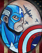 Erik Pinto Metal Prints - Captain America Metal Print by Erik Pinto