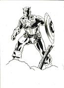 Superhero Drawings - Captain America Ink Sketch by Laura Lewis
