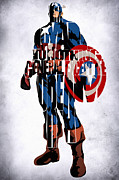 Pop Icon Prints - Captain America Inspired Typographic Drawing Print by Ayse Toyran