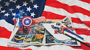 American Flag Pastels Framed Prints - Captain America Framed Print by Joanne Grant