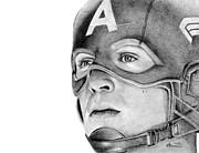 Helmet Drawings Prints - Captain America Print by Kayleigh Semeniuk