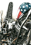 Harley Davidson Paintings - Captain America by Marie Downing