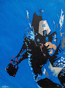 Original Framed Prints Painting Originals - Captain America - Out of the Blue by Kelly Hartman