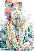 Trench Painting Prints - Captain Beefheart Watercolor Portrait.2 Print by Fabrizio Cassetta
