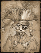 Cute Cat Drawings Prints - Captain Claw Print by Jeff Haynie