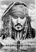Grey Clouds Drawings Prints - Captain Jack Sparrow 2 Print by Andrew Read
