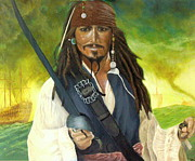 Buccaneer Painting Prints - Captain Jack Sparrow Print by Alan Minshull