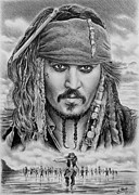 Celebrity Portraits Drawings Posters - Captain Jack Sparrow Poster by Andrew Read