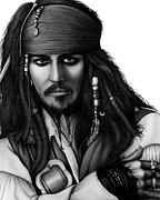 Graphite Drawings Prints - Captain Jack Sparrow Print by Charles Champin