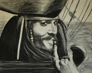 Pirate Drawings - Captain Jack Sparrow .Johnny Depp. Pirates of Caribbean. by Kira Rubtsova