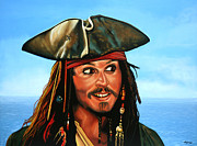 Pirates Painting Metal Prints - Captain Jack Sparrow Metal Print by Paul  Meijering
