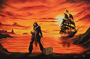 Jack Sparrow Paintings - Captain Jack Sparrow by Robert Steen