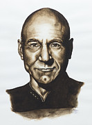 On Paper Painting Originals - captain Jean Luc Picard Star Trek TNG by Giulia Riva