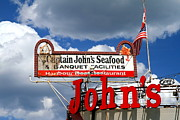 Captain Prints - Captain Johns Restaurant Sign Print by Valentino Visentini