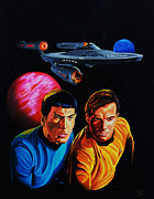 Enterprise Painting Prints - Captain Kirk and Mr. Spock Print by Robert Steen