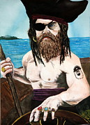 Neptune Painting Prints - Captain Neptune Print by Betty-Anne McDonald