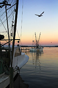 Fishing Boat Sunset Prints - Captain Tony - In for the Night Print by Mike McGlothlen