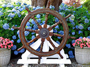 Seagoing Prints - Captains Wheel Print by Jean Hall