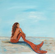 Little Mermaid Paintings - Captivating Copper Mermaid by Leslie Allen