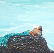 Turquiose  Metal Prints - Captivating Mermaid Metal Print by Leslie Allen