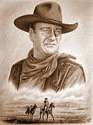 John Wayne Drawings Framed Prints - Captured sepia Framed Print by Andrew Read