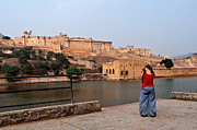 Singh Prints - Capturing the Beauty of Amber Fort  Print by Mukesh Srivastava