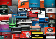 Sports Art Digital Art Posters - Car Badges Emblems Collage Rectangle Poster by Thomas Woolworth