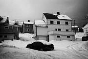 Honningsvag Prints - car buried in snow in front of traditional wooden home Honningsvag finnmark norway europe Print by Joe Fox